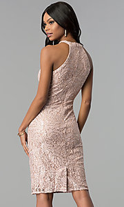 Image of rose gold lace knee-length sheath party dress. Style: MO-21616 Back Image