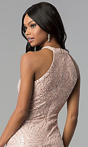 Image of rose gold lace knee-length sheath party dress. Style: MO-21616 Detail Image 2