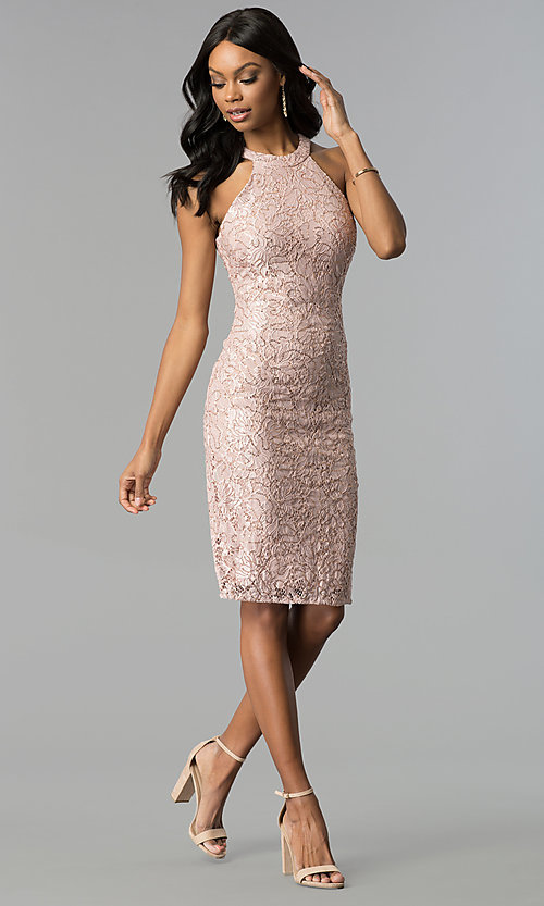 Image of rose gold lace knee-length sheath party dress. Style: MO-21616 Detail Image 3