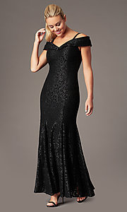 Image of sparkly glitter-lace long cold-shoulder prom dress. Style: MO-2047 Detail Image 3