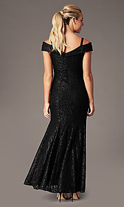Image of sparkly glitter-lace long cold-shoulder prom dress. Style: MO-2047 Detail Image 4