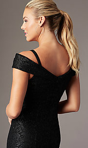 Image of sparkly glitter-lace long cold-shoulder prom dress. Style: MO-2047 Detail Image 6