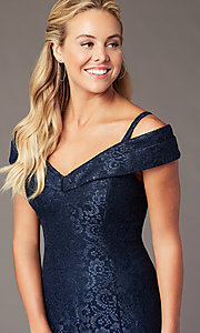 Image of sparkly glitter-lace long cold-shoulder prom dress. Style: MO-2047 Detail Image 1