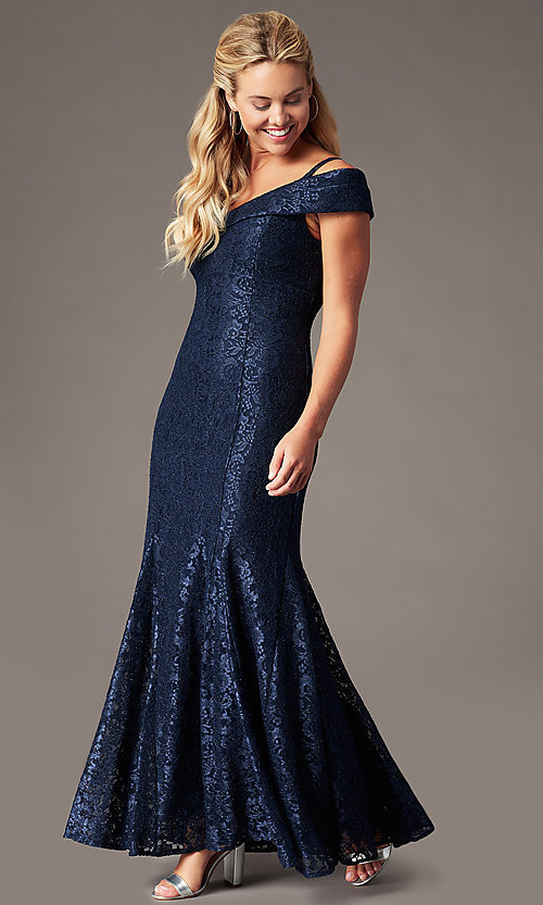 Image of sparkly glitter-lace long cold-shoulder prom dress. Style: MO-2047 Front Image