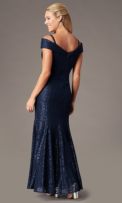 Image of sparkly glitter-lace long cold-shoulder prom dress. Style: MO-2047 Back Image