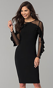 Short Knee-Length Black Party Dress with Sleeves