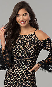 Image of short lace party dress with bell sleeves.  Style: MO-2174 Detail Image 1