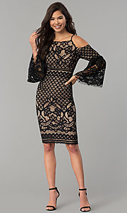 Image of short lace party dress with bell sleeves.  Style: MO-2174 Detail Image 2