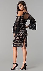 Image of short lace party dress with bell sleeves.  Style: MO-2174 Detail Image 3