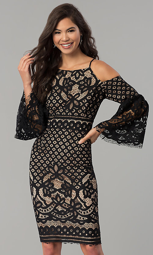 Image of short lace party dress with bell sleeves.  Style: MO-2174 Front Image