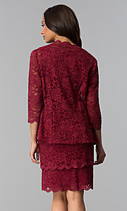 Image of garnet red mother-of-the-bride dress with jacket. Style: MO-3266 Back Image
