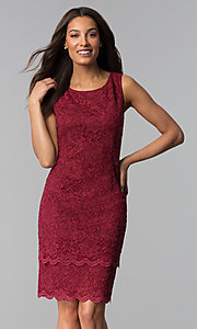 Image of garnet red mother-of-the-bride dress with jacket. Style: MO-3266 Detail Image 1