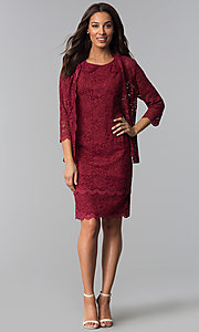 Image of garnet red mother-of-the-bride dress with jacket. Style: MO-3266 Detail Image 3