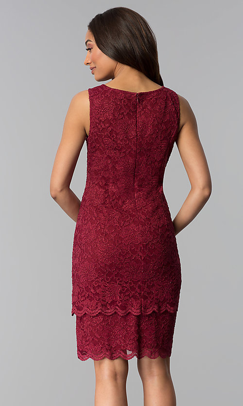 Image of garnet red mother-of-the-bride dress with jacket. Style: MO-3266 Detail Image 2