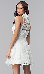 Image of short lace high-neck graduation party dress.  Style: SS-D70651H602 Back Image