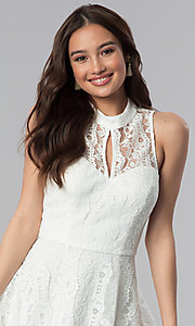 Image of short lace high-neck graduation party dress.  Style: SS-D70651H602 Detail Image 1