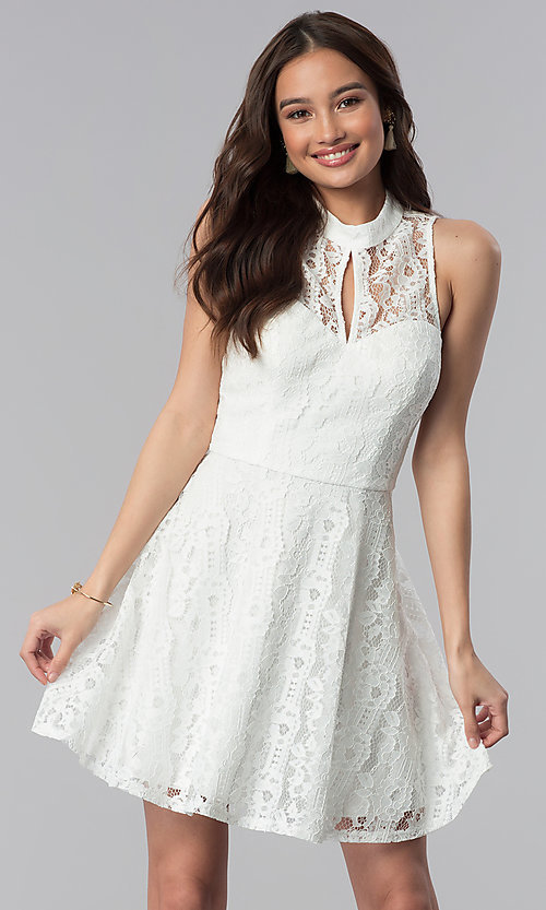Image of short lace high-neck graduation party dress.  Style: SS-D70651H602 Front Image
