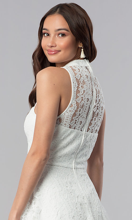 Image of short lace high-neck graduation party dress.  Style: SS-D70651H602 Detail Image 2