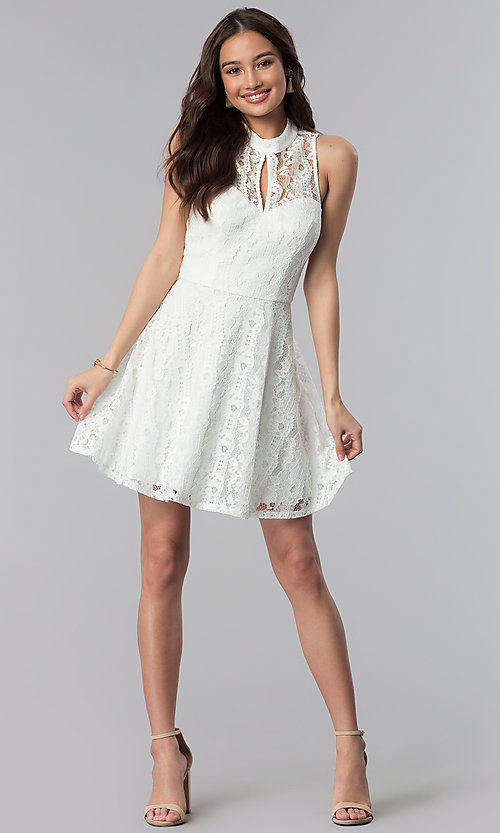 Image of short lace high-neck graduation party dress.  Style: SS-D70651H602 Detail Image 3