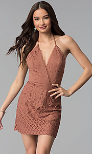 Image of whiskey brown short v-neck halter lace party dress. Style: SS-D70902H600 Front Image