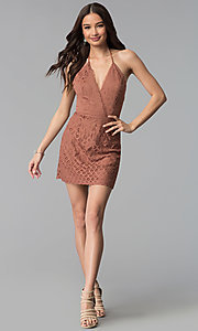 Image of whiskey brown short v-neck halter lace party dress. Style: SS-D70902H600 Detail Image 3