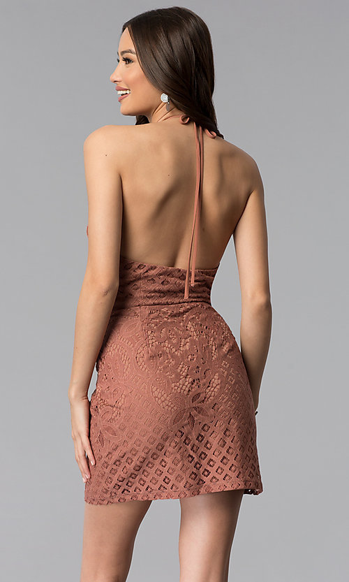 Image of whiskey brown short v-neck halter lace party dress. Style: SS-D70902H600 Back Image