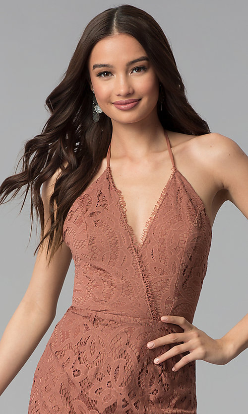 Image of whiskey brown short v-neck halter lace party dress. Style: SS-D70902H600 Detail Image 1