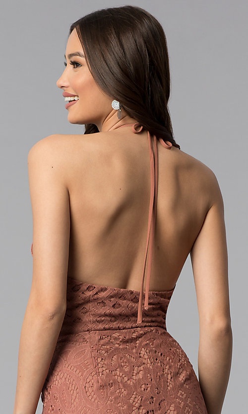 Image of whiskey brown short v-neck halter lace party dress. Style: SS-D70902H600 Detail Image 2