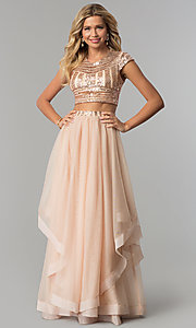 Long Two-Piece Sequin-Top Prom Dress with Tiered Skirt