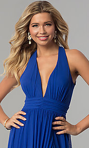 Image of cobalt blue long v-neck prom dress with twisted back. Style: FLA-130358 Detail Image 1