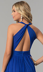 Image of cobalt blue long v-neck prom dress with twisted back. Style: FLA-130358 Detail Image 2