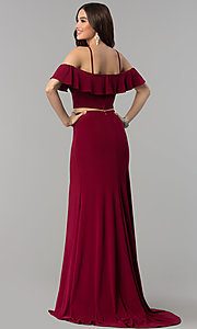 Image of two-piece cold-shoulder long prom dress. Style: JT-662 Back Image