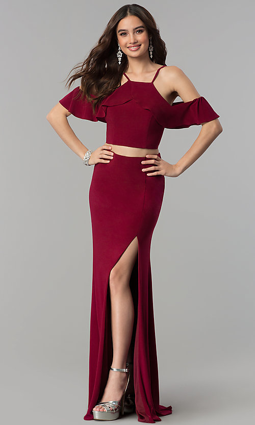 Image of two-piece cold-shoulder long prom dress. Style: JT-662 Front Image