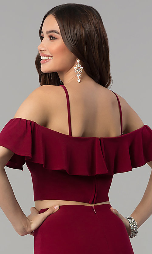 Image of two-piece cold-shoulder long prom dress. Style: JT-662 Detail Image 2