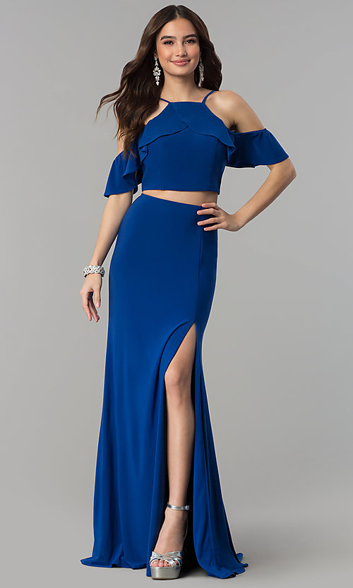 Image of two-piece cold-shoulder long prom dress. Style: JT-662 Detail Image 3