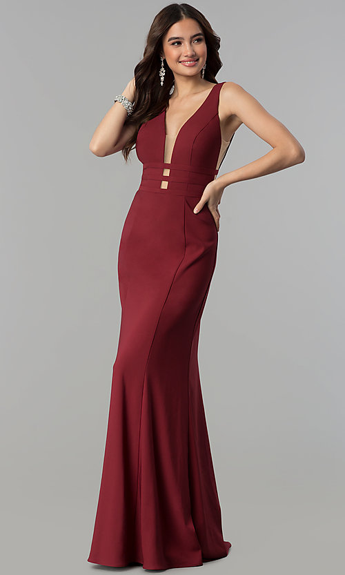 Image of open-back long v-neck mermaid prom dress. Style: JT-674 Back Image