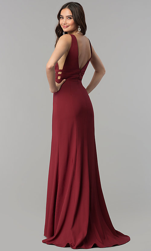 Image of open-back long v-neck mermaid prom dress. Style: JT-674 Front Image