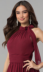 Image of long ruched-waist high-neck chiffon prom dress. Style: JT-672 Detail Image 2