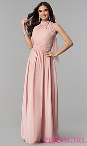 Image of long ruched-waist high-neck chiffon prom dress. Style: JT-672 Detail Image 3