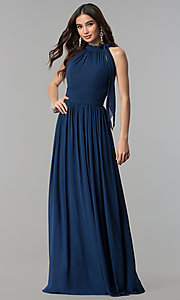 Long Ruched-Waist High-Neck Chiffon Prom Dress