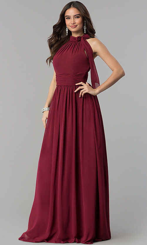 Image of long ruched-waist high-neck chiffon prom dress. Style: JT-672 Front Image