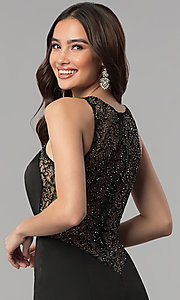 Image of long mermaid prom dress with sheer-lace back. Style: JT-665 Detail Image 2