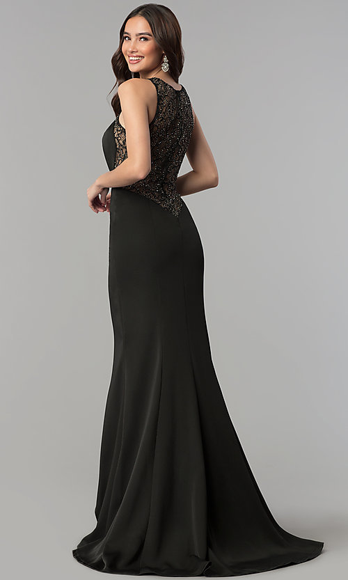 Image of long mermaid prom dress with sheer-lace back. Style: JT-665 Front Image