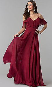 Long Chiffon Prom Dress with Off-Shoulder Flounce