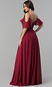 Image of long chiffon prom dress with off-shoulder flounce. Style: JT-671 Back Image