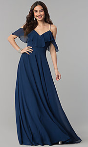 Image of long chiffon prom dress with off-shoulder flounce. Style: JT-671 Front Image