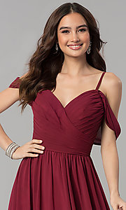 Image of long chiffon cold-shoulder ruched-bodice prom dress. Style: JT-676 Detail Image 1
