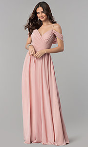 Image of long chiffon cold-shoulder ruched-bodice prom dress. Style: JT-676 Detail Image 2