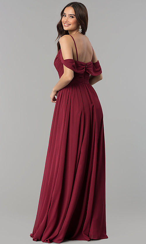 Image of long chiffon cold-shoulder ruched-bodice prom dress. Style: JT-676 Back Image