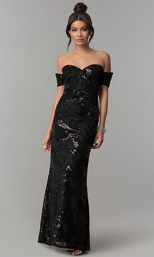 Image of off-the-shoulder sweetheart black sequin prom dress Style: SOI-M17486SI194 Front Image